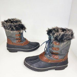 Itasca Quilted Gray Fluffy Lined Winter Boots 8